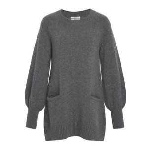 Co Wool Cashmere Blend Tunic Sweater Grey Medium